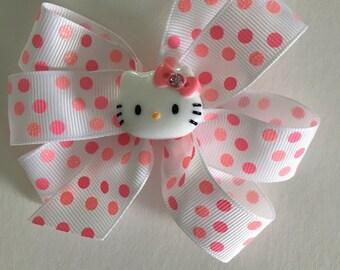 Hello Kitty Bow Hello Kitty Hair Bow Pink Polka Dot Hello Kitty Bow Pink Sparkly Bow with Hello Kitty Resin