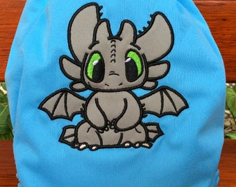 Dragon Toothless Embroidery Ppplique AIO Cloth Diaper Cloth Nappy