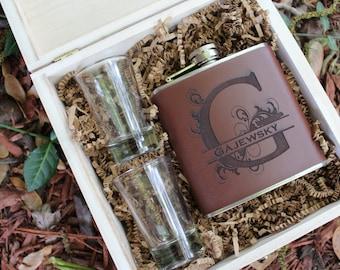 Groomsmen Cigar Box, Wooden Engraved Groomsmen Box,Personalized  Flask Set, Wedding Party, Bridal Party