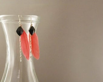 Dangling earrings coral feather