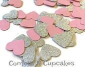 Silver Heart Wedding Confetti, Pink Silver Heart Confetti, glitter heart decor, glitter baby shower, pink confetti, 1st birthday confetti