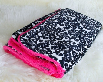 """Hot Pink Black and White Minky Baby Blanket 29""""x36"""" Can Be Personalized, Infant Blanket ,Crib Blanket, Stroller Blanket, Baby Shower Gift"""