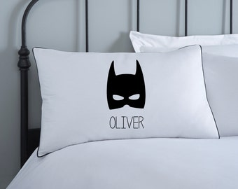 Batman Pillowcase | Kids Pillows | Monochrome Bedding | Personalised Batman Pillow Case | Cotton | Batman Bedding | Kids Pillows