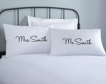 Couples Personalised Pillowcase set - 2 pillow covers - home wedding gift - engagement gift - anniversary gift - mr and mrs custom pillow