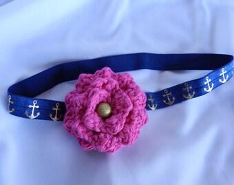 Navy Anchor Baby Headband