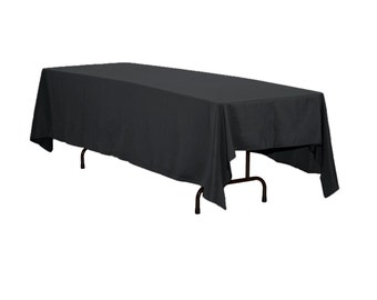Attractive 60 X 120 Inch Rectangular Polyester Tablecloth Black  All Colors Available