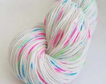 "Hand dyed sock yarn in ""Candy Shop"" colorway"