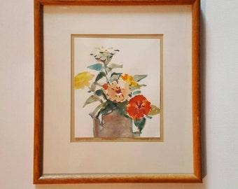 "Robert Hustead, Vintage Watercolor Painting ""Happy Birthday"" Signed art, Still life, Framed art, Abstract Painting, VetterleinArt"