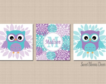 Owl Decor,Teal Purple Nursery Wall Art,Owl Nursery Wall Art,Lavender Teal Nursery,Purple Owl Nursery Wall Art-Owl Decor-UNFRAMED Set of 3