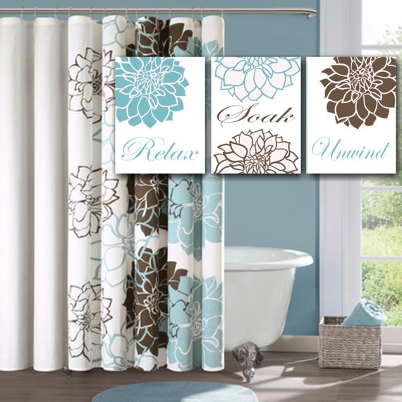 Blue And Chocolate Bathroom: Blue Brown Floral Bathroom Wall ArtTeal Brown By