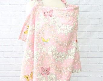 Brooklyn's Butterfly | Pink and Ivory Nursing Cover