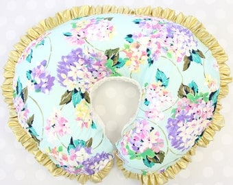 Holly's Hydrangea Floral    Gold & Aqua Floral Ruffled Nursing Pillow Cover