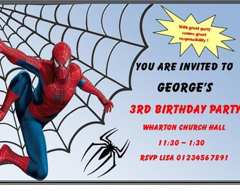Spider-man Boys Birthday Party Invitations Marvel boys children spiderman