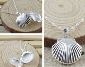 925 Sterling Silver Charm Shell locket with 20 inch chain,Sea Shell Locket, Seashell Locket , Ocean Jewelry, Beach Jewelry
