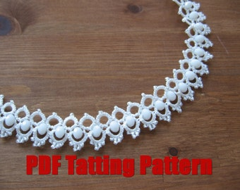 PDF Tatting pattern  Necklace Shuttle tatted beaded lace hand made Tatted wedding beaded jewelry set