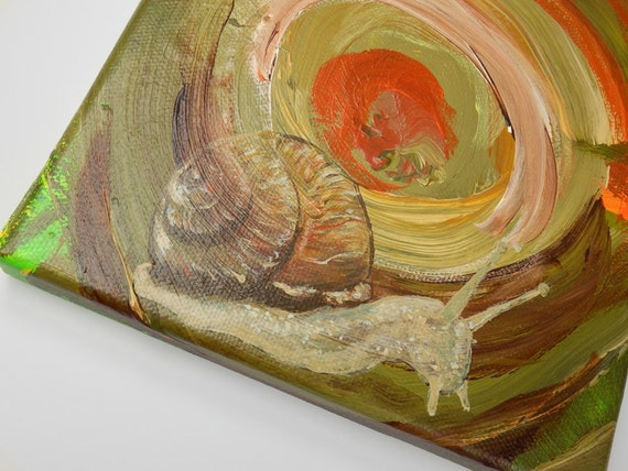 Snail original acrylic painting on canvas original artwork 15 x 15 cm unique image snails brown snail house art