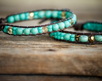 Turquoise and gold leather beaded bracelet