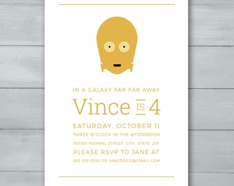 C3PO Star Wars Birthday Party Invitation  |  C3PO Star Wars Invite  |  Star Wars Invitation  |  Star Wars Invite