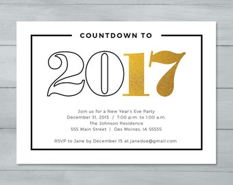 New Year's Eve Party Invitation  |  New Year's Invitation  |  Countdown to 2016 New Year's Invitation