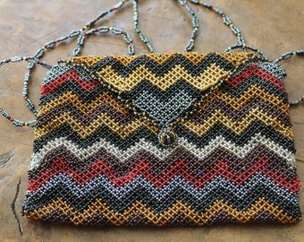 Hand beaded handbag with shoulder strap.  zigzag detail. Made in South africa 80's.