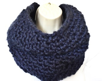 Blue Cowl, Navy Blue Cowl, Blue Infinity Scarf, Blue Loop Scarf, Navy Blue Loop Scarf, Blue Scarf, THE AMELIA
