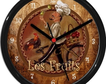 "French Chef Le Fruits Personalized 10"" Kitchen Wall Clock"
