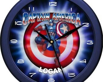 "Captain America Comic Book Hero 10"" Wall Clock Personalized Boys Room Decor Wall Art Gift"
