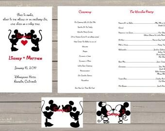 100 Personalized Custom Fairytale Disney Mickey and Minnie Kissing Wedding Programs Disneyland