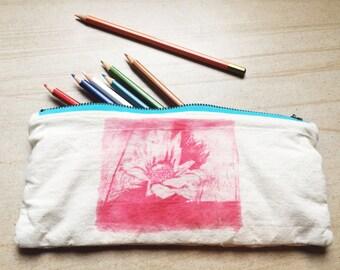 """Pencil Case / Pouch """"Surviving"""" Red Ink, Aqua Zip"""