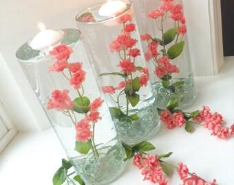 Set of 6 Coral Floral Wedding Centerpieces/Decorations/ Bridal Shower Centerpieces