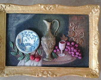 Still Life Chalkware Picture, 1965 Universal Statuary Corp, restyled 60s home decor