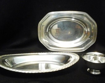 3 Silver Plated Dishes, Octagon Oval Silver Bowl /Tray, Oval Silver Bowl, Small Silver Bowl
