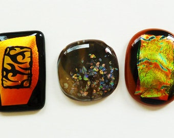 3 black gold brown cabochons, made from fused dichroic glass