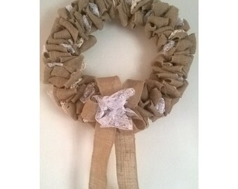 Rustic Fabric Wreath - Lace, Burlap and Crochet Design