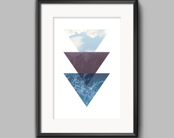 Water Earth and Sky Triangles 11x14 Print Wall Art