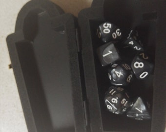 Grey Dice Set in a Tombstone Case