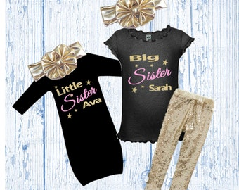 Big and Little Sister Matching Outfits - Sibling Matching Outfits - Gold Glitter Big Sister