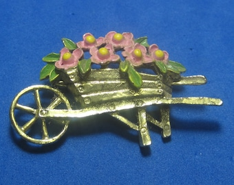 VINTAGE Antique Brooch Wheelbarrow with Flowers