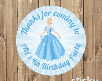 Personalized Birthday Party Stickers, Birthday Party Labels, Birthday Party Tags, Christening Stickers, Cinderella Stickers, Party Favours