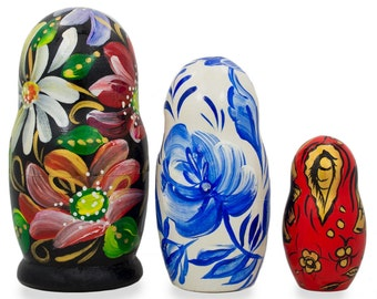 "4.25"" Set of 3 Khohloma Flowers Wooden Nesting Dolls- SKU # M-28"