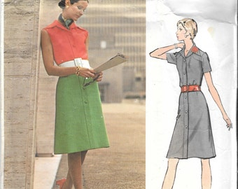 Vintage 1960s Misses Shirtwaist Front Button Dress Sewing Pattern Size 12 Bust 34