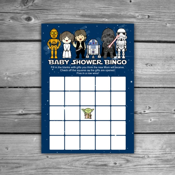 star wars baby shower bingo game printable instant download diy