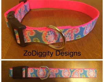"1"" Argyle/ Blue & Pink Dog Collar"