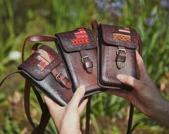 Camilla leather mini bag and phone holder