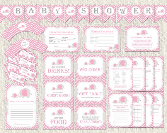 Elephant baby shower pack chevron pink gray theme printable for Baby shower decoration packs
