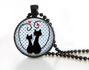 Black Cats Silhouette Glass Pendant/Necklace/Keychain