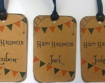 Halloween personalised trick or treat party bag tags