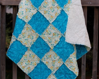 Blue and Flower Baby / Child Rag Quilt