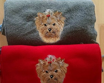 Embroidered Yorkshire Terrier (Yorkie) Scarf