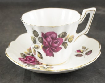 Grosvenor Fine Bone China Cup and Saucer RED ROSES